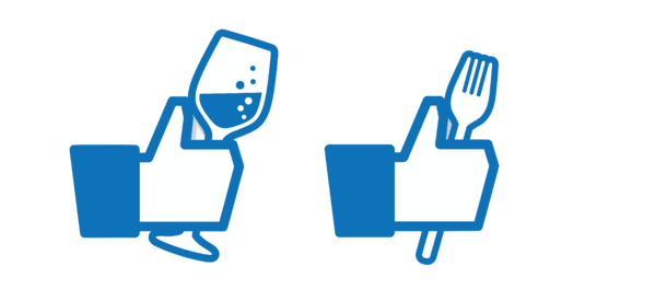 Facebook Likes with glass and fork
