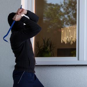 Burglar breaking window