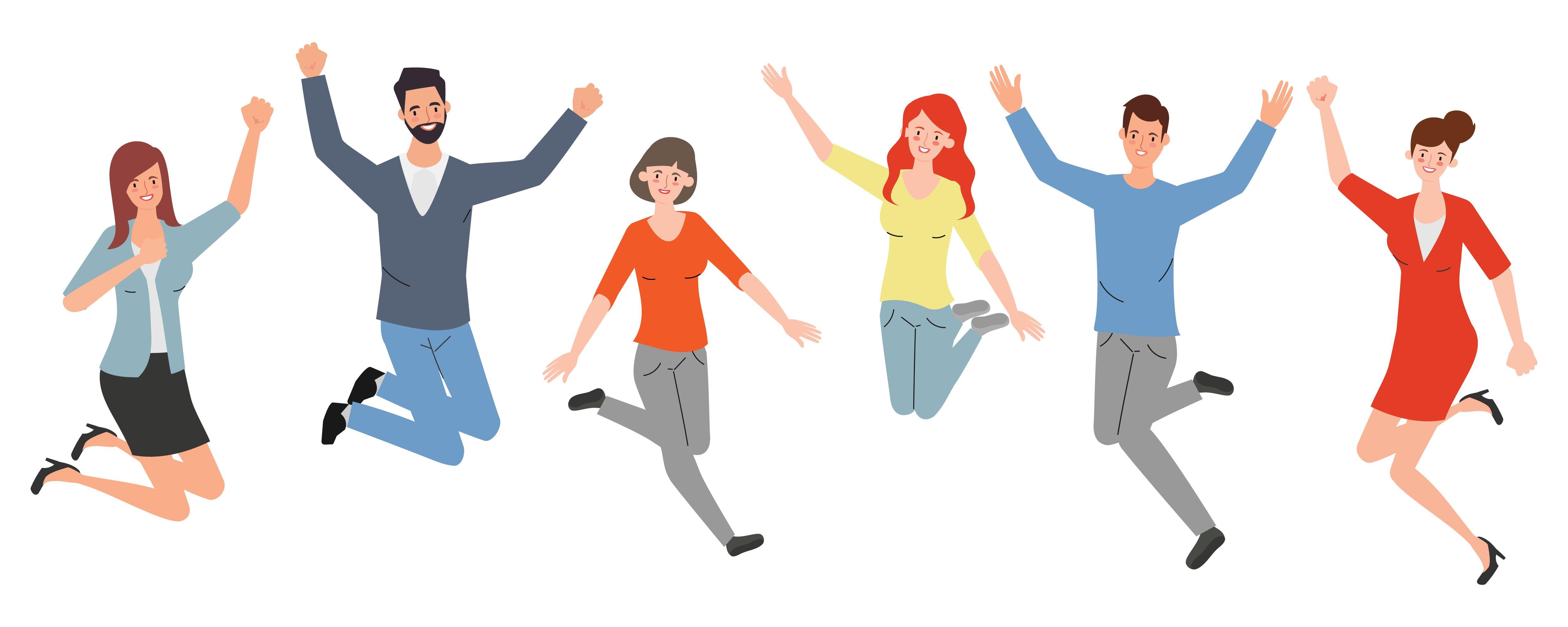 Happy emplpyees illustration