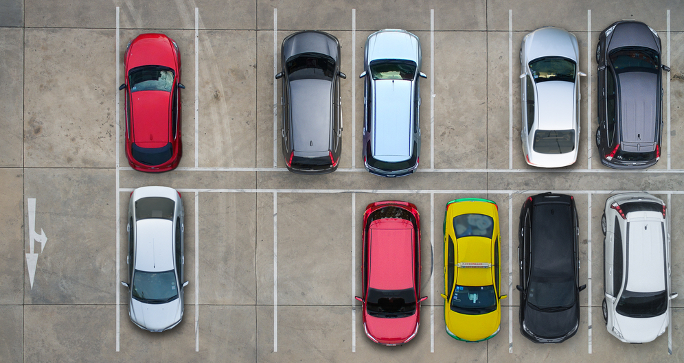 Parking spaces in a lot
