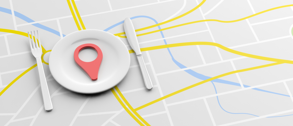 Restaurant Plate on a map