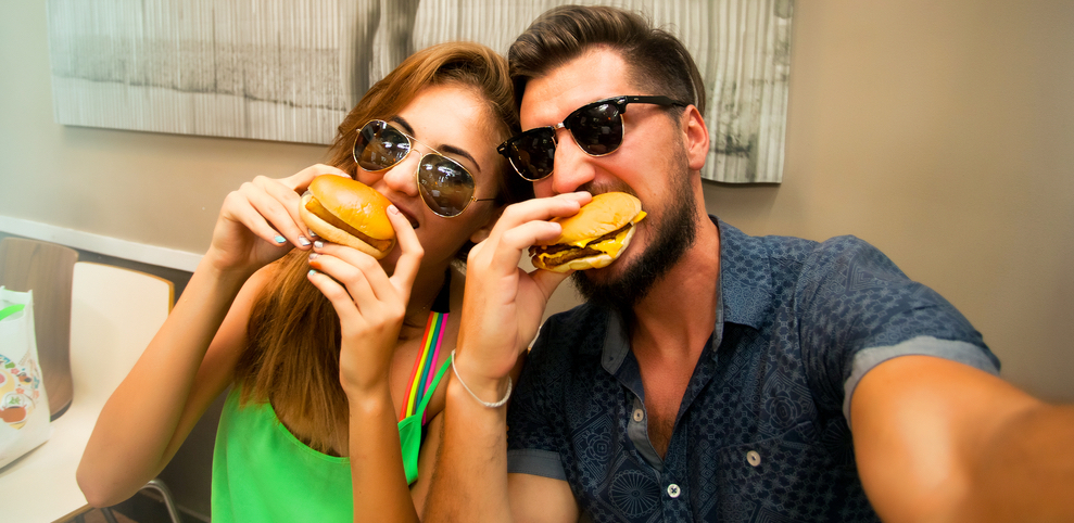 Photo of couple eating