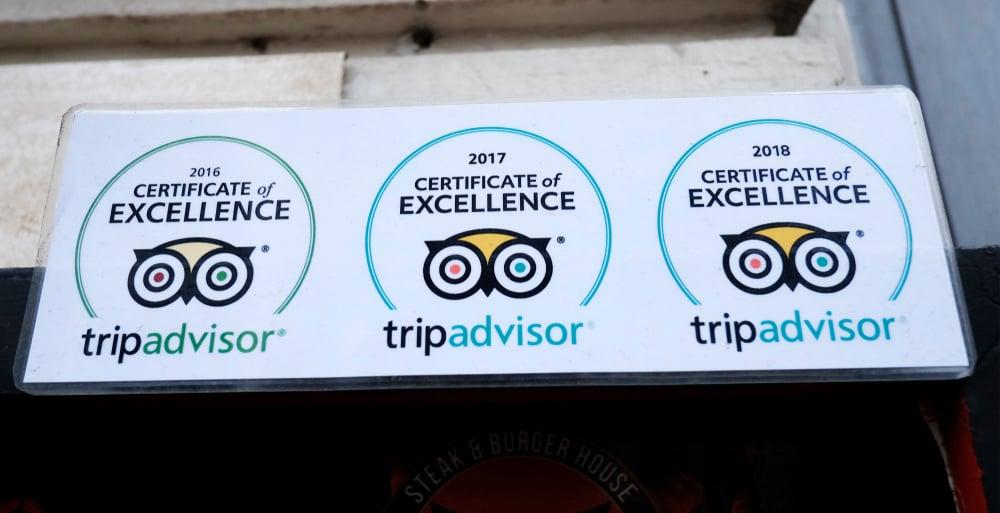 TripAdvisor Sign on Restaurant